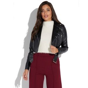 Black Faux-Leather Cropped Moto Jacket Sz Med, NWT
